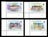 BARBUDA 1987 WWF. Antiguan Attractions /BARBUDA MAIL/ OVPT.MARGINAL CORNER 4-BLOCKS:4 (16 stamps)