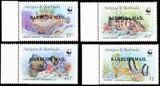 BARBUDA 1987 WWF. Antiguan Attractions /BARBUDA MAIL/ OVPT.MARGINAL 4-BLOCKS:4 (16 stamps)