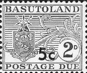 BASUTOLAND 1961. Postage Due Coat of Arms T II.OVPT:5 on 2d