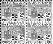 BASUTOLAND 1961. Postage Due Coat of Arms T II.OVPT:5 on 2d. 4-BLOCK