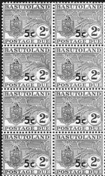 BASUTOLAND 1961. Postage Due Coat of Arms T II.OVPT:5 on 2d 8-BLOCK