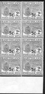 BASUTOLAND 1961. Postage Due Coat of Arms T II.OVPT:5 on 2d MARG.8-BLOCK