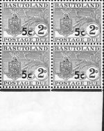 BASUTOLAND 1961. Postage Due Coat of Arms T II.OVPT:5 on 2d MARG.4-BLOCK