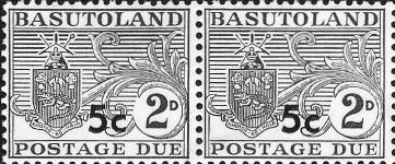 BASUTOLAND 1961. Postage Due Coat of Arms T II.OVPT:5 on 2d .PAIR