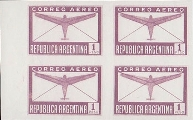 ARGENTINA 1940 Air mail 1p PROOFS:4-BLOCK
