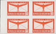ARGENTINA 1940 Air mail 2.50p PROOFS:4-BLOCK