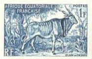 FRENCH EQUATORIAL AFRICA 1957. Animal game 1F. PROOF