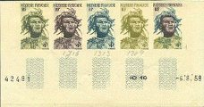 FRENCH POLYNESIA 1958 polynésie. Big Polynese 4f . PROOFS:5-STRIP