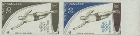 FRENCH POLYNESIA 1968. Olympics Mexico Big sporty hard guy 35F. PROOF PAIR
