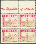 LIBERIA 1955. Running fast 25c. PROOF:4-BLOCK