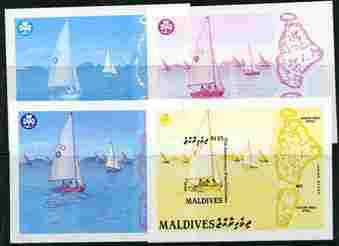 MALDIVE ISLANDS 1987. Scouting Girl Guides.Imperf.Progressive sheetlet :4 stages