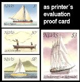 NEVIS 1980. Ships saling canoe Printer´s evaluation card PROOFS:4