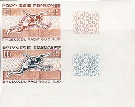 FRENCH POLYNESIA 1966. Running jumping 25F. PROOF PAIR
