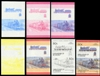 ST.VINCENT-GRENADINES 1985. Trains 50c. PROGRESSIVE PROOFS :7 pairs se-tenant