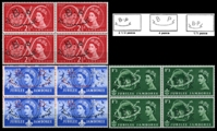 GREAT BRITAIN 1957. Scouting. PERFINS:B.P. 4-BLOCKS:3 (12 stamps)