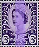 GREAT BRITAIN Wales 1958. 3d lilac 1-centre phosphor. Sheet:240