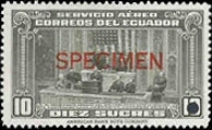 ECUADOR 1943. Congress Flag Air mail. Ovpt.Specimen security punched
