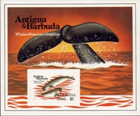 ANTIGUA & BARBUDA 1983 Whales $5. IMPERF.SHEETLET+Progressive proofs:5 stages