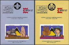 ST.LUCIA 1986 Scouting 4$.$6 Ovpt:Capex-AUSTRALIA flag Red IMPERF.Sheets:2. UNISSUED-officially planned